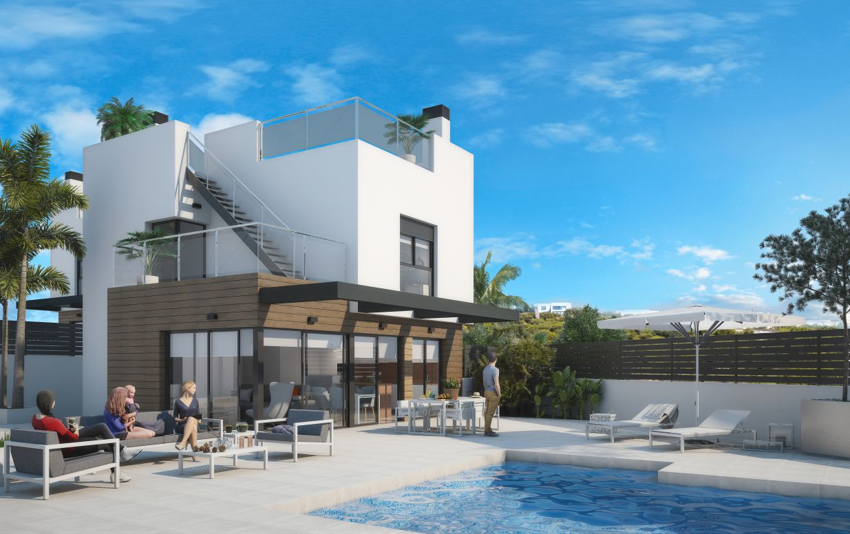 Semi Detached Villas with 3 Bedrooms and Solarium in Algorfa
