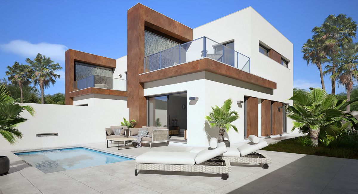 New Build 3 Bedrooms Detached Villas with Private Pool For Sale in Daya Nueva