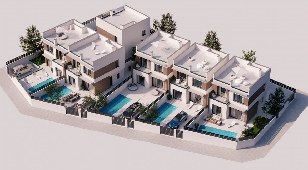 New Build Independent 3 Bedrooms Villas With Private Swimming Pool In Benijofar (1)